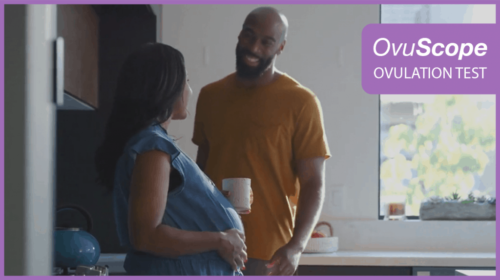 Pregnant women and man conversing
